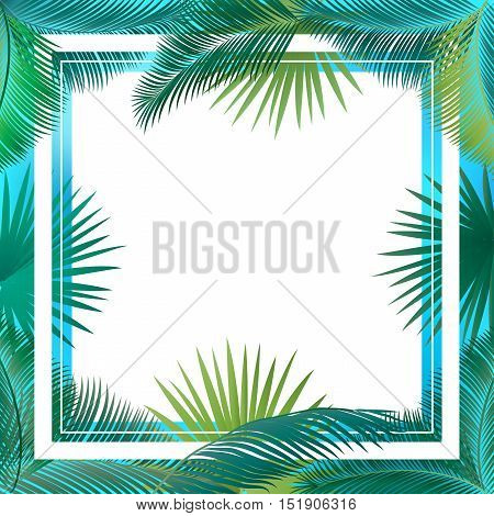 Sukkot palm tree leaves frame. Palm leaf frame. Palm branch leaves background. Tropical palm leaf frame with white space for text. Jungle background green leaves. Vector illustration. Summer poster.