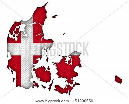 Map and flag of Denmark on old linen
