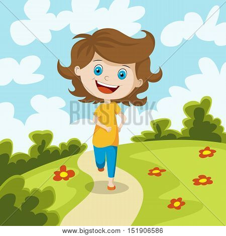 Child running through a meadow, vector illustration