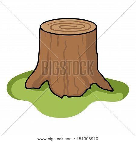 Tree stump icon in cartoon style isolated on white background. Sawmill and timber symbol stock vector illustration.