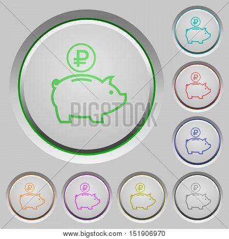 Set of color Ruble piggy bank sunk push buttons.
