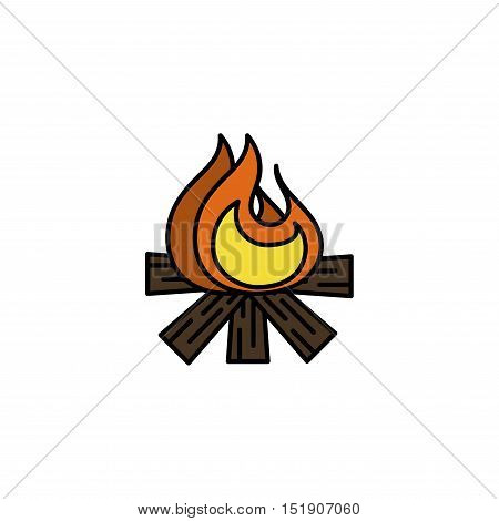 Hunting icon. Bonfire. Flat style Vector illustration EPS 10