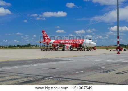 Sibu SarawakMalaysia-October 32016:Jet aircraft of the airline Air Asia flights to fly between Sibu Sarawak to Kuala Lumpur Malaysia.