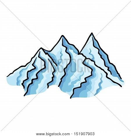 Mountain range icon in cartoon style isolated on white background. Ski resort symbol vector illustration.