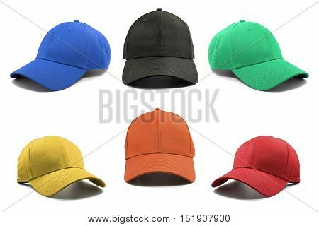 Group of the colorful fashion caps isolated on white background.