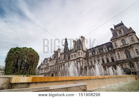 The Hotel De Ville Is The Building Of Administration In Paris.