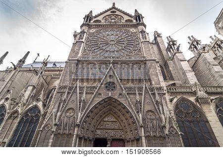 The North Facade Of Catholic Cathedral Notre-dame De Paris.