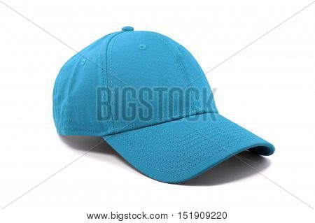 Closeup of the fashion sky blue color cap isolated on white background.