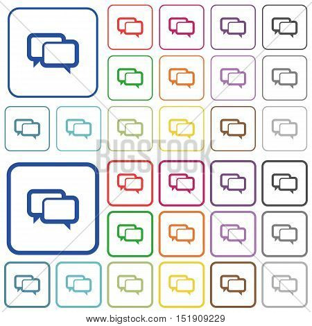 Set of chat bubbles flat rounded square framed color icons on white background. Thin and thick versions included.
