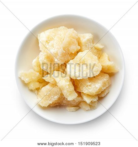 Bowl Of Parmesan Cheese Isolated On White Background