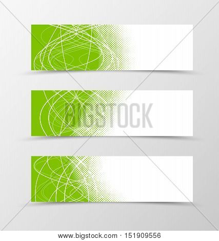 Set of banner wavy design. Green banner for header with curly lines. Design of banner with halftone effect. Vector illustration