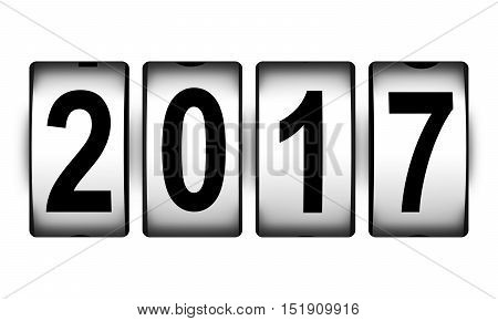3D render illustration of countdown timer clock with 2017 number text isolated on white background
