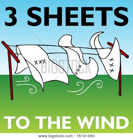 An image representing three sheets to the wind.