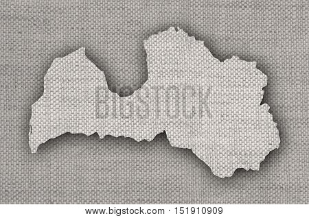 Map of Latvia on old linen cloth