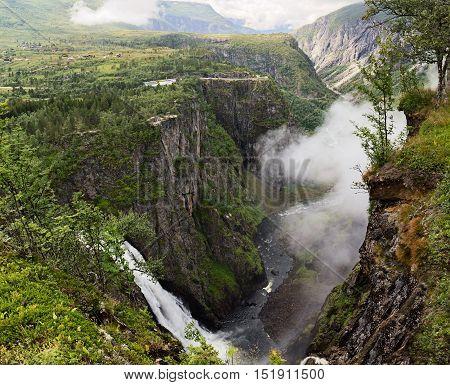 Voringfossen waterfall and deep valley in Hordaland Norway