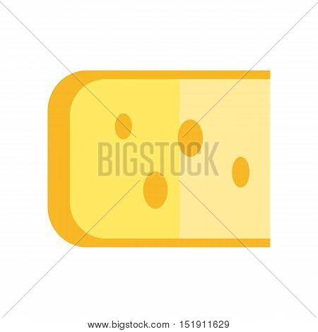 Cheese vector Illustration. Flat design. Milk products concept. Sliced piece of fresh natural cheddar. illustration for grocery shop, farm ad, menu, app pictogram. Isolated on white background.