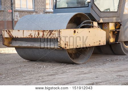 Road paving equipment working on a street