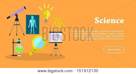 Science banner. Scientific equipment, space, medicine physics and chemistry concept. Medicinal substances, preparations, devices, equipment elements. Laboratory researches. Vector in flat style