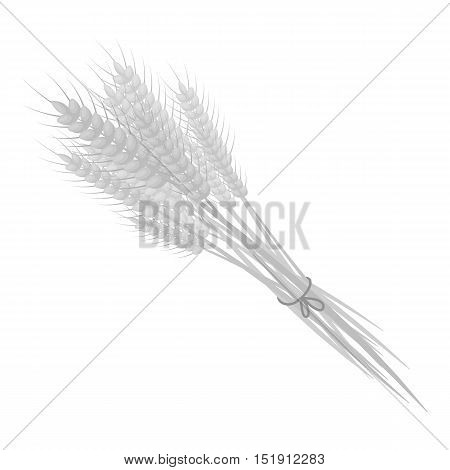 Bundle of wheat icon in monochrome style isolated on white background. Canadian Thanksgiving Day symbol vector illustration.