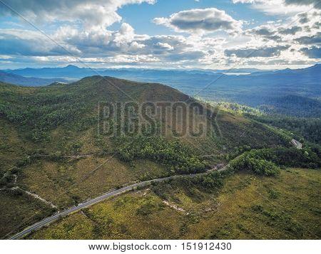 Beautiful Mountainous Aerial Landscape Along Gordon River Road, Florentine, Tasmania,