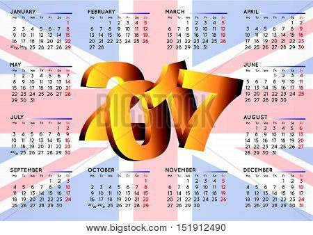 2017 Calendar Uk Flag