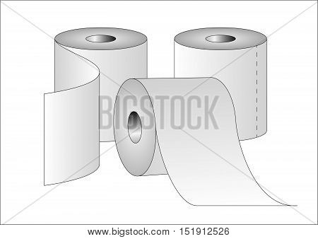 Three rolls of toilet paper. Vector illustration