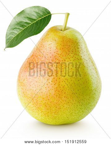 Red Yellow Pear Fruit With Leaf Isolated On White
