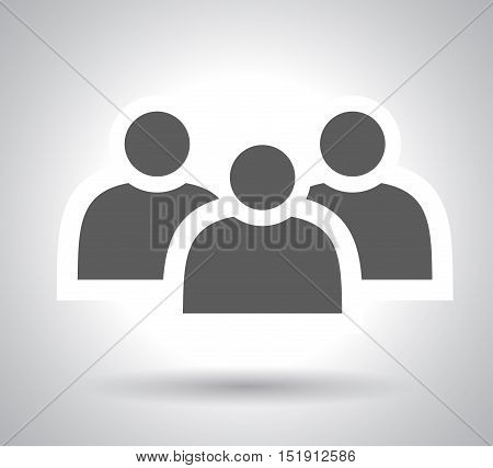 Group of people sign icon. Share symbol. Button with soft shadow. Modern UI website navigation. Social icons on white background . vector eps10