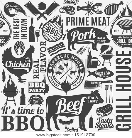 Typographic vector barbecue seamless pattern or background. BBQ meat vegetables beer wine and equipment icons for cafe bar and restaurant menu branding and identity