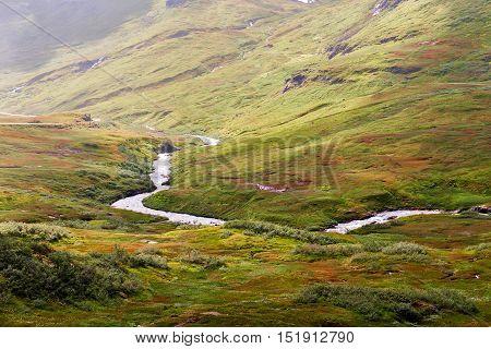 Landscape At The  Vikafjellsvegen National Tourist Route To Vik, Norway