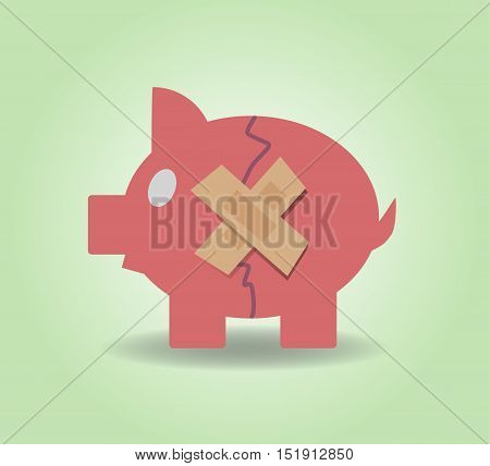 Piggy bank with plasters concept for financial crisis or economic depression. Vector illustration EPS10