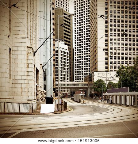 High - rise buildings and streets in the Central Financial District of Hong Kong, China