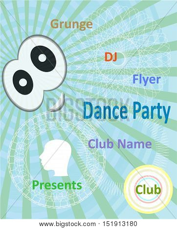 Vertical Blue Music Party Background With Graphic Elements And Text.