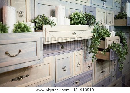 A lot of furniture drawers, some with decorative candles and domestic plants.