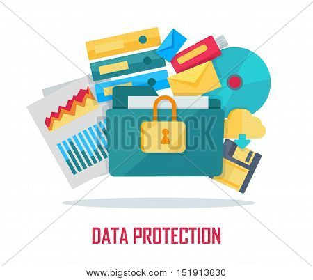 Data protection banner. Blue folder lock icon on white background. File protection. Data security and privacy concept. Safe confidential information. Vector illustration in flat style.