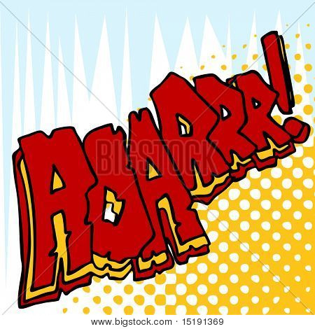 An image of angry roar sound effect text.