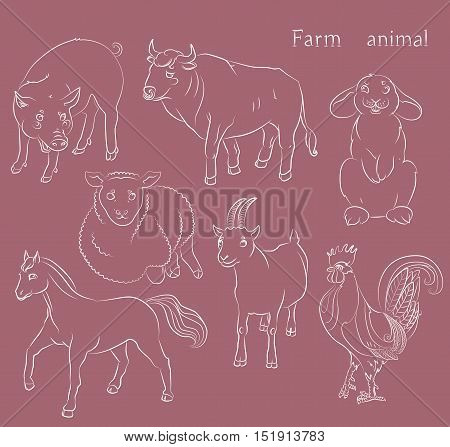 image of a bull goat pig horse sheep and rabbit - suitable for a child's coloring and not only. For your convenience each significant element is in a separate layer. eps10