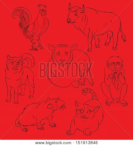 Seven chinesse animals: cock, bull, sheep, dog, monkey, rat, cat