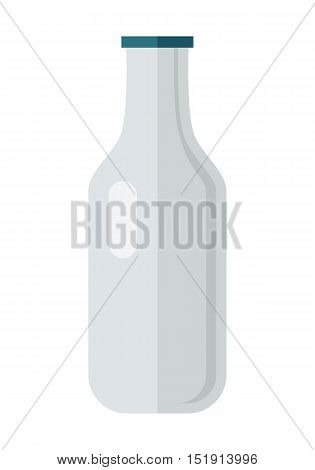 Glass or plastic bottle with milk or yogurt illustration. Flat design. Packaging for liquid product concept. Picture for signboard, app icons, logo design, infographics. Isolated on white background.
