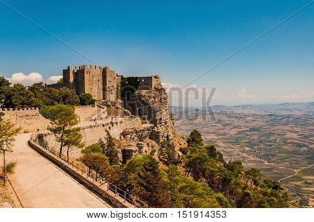 Norman castle or medieval Castle of Venus in Erice province of Trapani in Sicily Italy.
