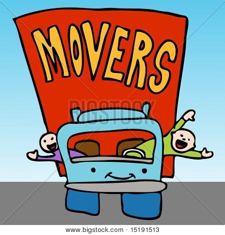 An image of a movers waving from the moving truck.