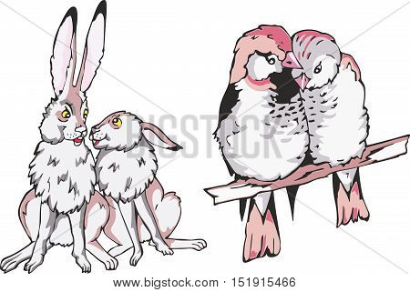 Set of cartoon animal couples in love. Two rabbits and two little birdies.