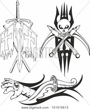 Fantasy Tattoo Crusader Sketches