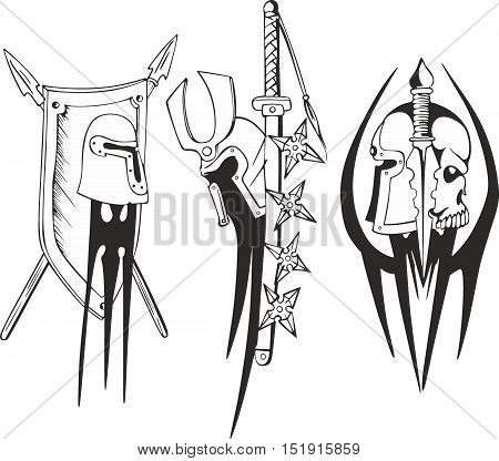 Tattoo Sketches Of Teutonic Crusader Shields And Helmets