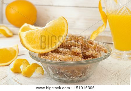 Homemade Candied Orange Peels In Glass Bowl