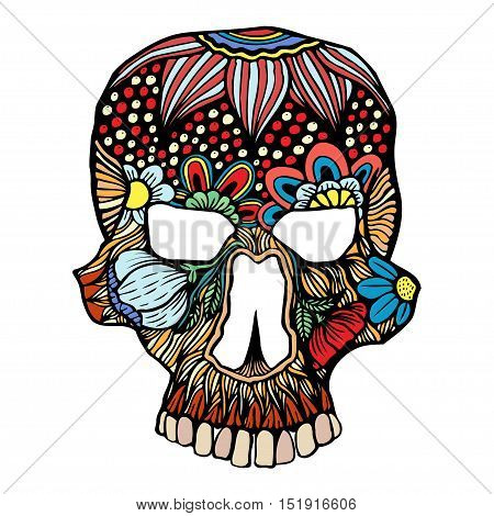 Skull flowers decoration. Vector illustration. Freehand sketch for adult anti stress coloring page with doodle elements. Ethnic ornamental patterned vector illustration for tattoo, t-shirt or prints