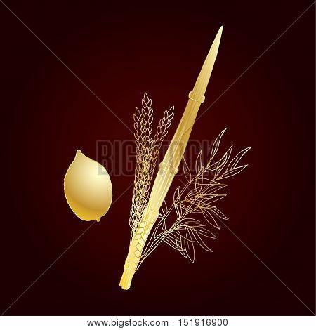 Sukkot background. Jewish traditional four species for Jewish Holiday Sukkot. Vector illustration. Vintage Luxury gold Sukkot greeting card.