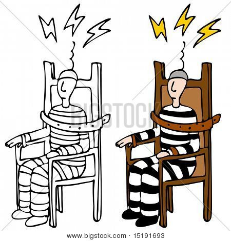 Una imagen de un hombre en una silla eléctrica.