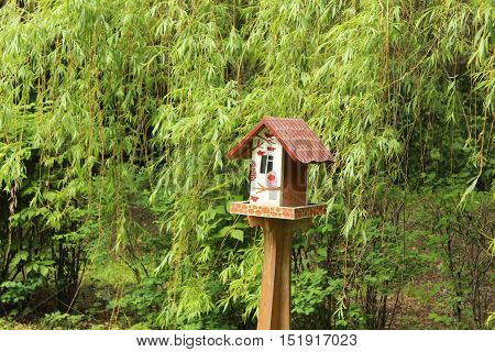 Beautiful birdhouse in the park, Sparrow Hills