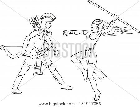 Fantasy set of two amazon women with spear and arrows. Mythical lady warriors.